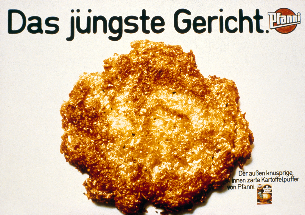 Plakat zur Einführung der Kartoffelpuffer von Pfanni, 1975