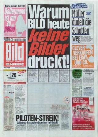 Titelseite von BILD am 8. September 2015